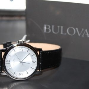 NEW Bulova Mens Watch Black Leather Band- LOOK!